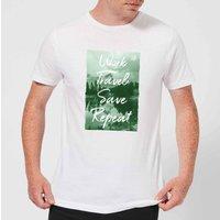Work Travel Save Repeat Forest Photo Men's T-Shirt - White - XXL - White