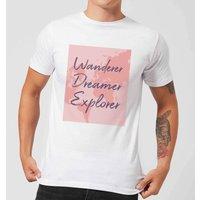 Wander Dreamer Explorer With Map Background Men's T-Shirt - White - XS - White