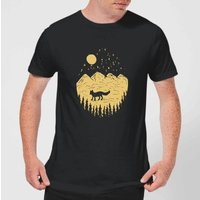 Moonlight Fox Adventure Men's T-Shirt - Black - XS - Black
