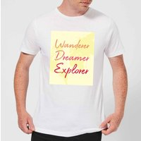 Wander Dreamer Explorer Background Men's T-Shirt - White - 4XL - White