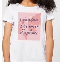 Wander Dreamer Explorer With Map Background Women's T-Shirt - White - 5XL - White