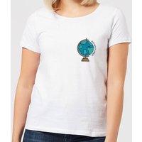 Globe Adventurer Pocket Print Women's T-Shirt - White - 5XL - White