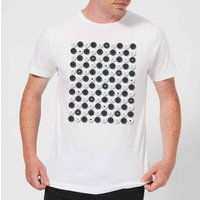 Monochrome Checkers Pattern Men's T-Shirt - White - S - White