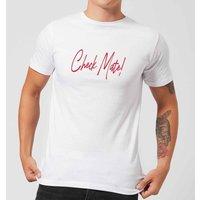 Check Mate! Script Text Men's T-Shirt - White - XS - White