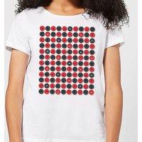 Checkers Pattern Women's T-Shirt - White - L - White