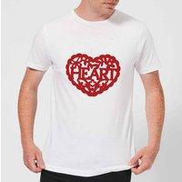Red Cut Out Heart Text Men's T-Shirt - White - XXL - White