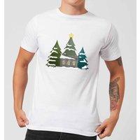 Cabin And Trees Men's T-Shirt - White - 5XL - White