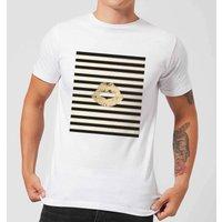 Lipstick Kiss Mark Striped Background Men's T-Shirt - White - 4XL - White