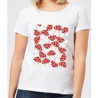 Mushroom Pattern Women's T-Shirt - White - XXL - White