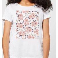 Floral Rose Pattern Women's T-Shirt - White - L - White