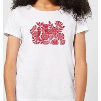 Folk Bird Graphic Women's T-Shirt - White - XL - White