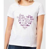 Love Dovey Words Heart Shape Women's T-Shirt - White - M - White