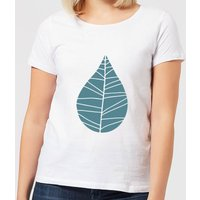 Plain Turquoise Leaf Women's T-Shirt - White - S - White