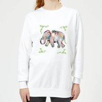 Indian Elephant With Leaf Border Women's Sweatshirt - White - L - White