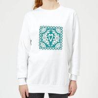 Cut Heart Pattern Heart Women's Sweatshirt - White - XXL - White