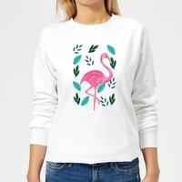 Flamingo And Leaves Women's Sweatshirt - White - L - White