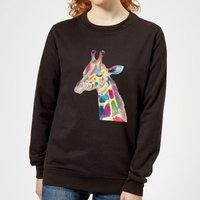 Multicolour Watercolour Giraffe Women's Sweatshirt - Black - 5XL - Black - Giraffe Gifts