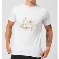 Candlelight Peony And Pansy Men's T-Shirt - White - M - White