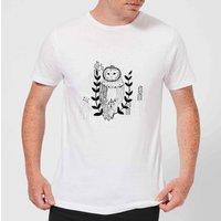 Candlelight Line Art Owl Men's T-Shirt - White - S - White
