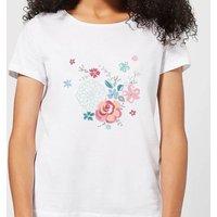 Candlelight Water Colour Flower Bouquet Women's T-Shirt - White - 3XL - White