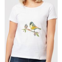 Candlelight Blue Tit On Pine Cone Branch Women's T-Shirt - White - M - White