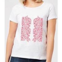 Candlelight Elegant Floral Pattern Women's T-Shirt - White - 3XL - White