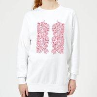 Candlelight Elegant Floral Pattern Women's Sweatshirt - White - XXL - White - Elegant Gifts