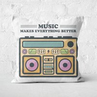 Music Makes Everything Better Square Cushion - 50x50cm - Soft Touch - Music Gifts