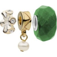 Amadora Crystal and Pearl Pack of Three Charms Set - One Size - Silver - Charms Gifts