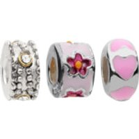 Amadora Silver Flower and Beads Pack of Three Charms - One Size - Silver - Charms Gifts