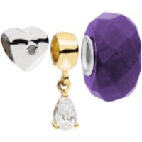 Amadora Silver Heart And Crystal Beads Pack of 3 Charms Set - One Size - Silver - Charms Gifts