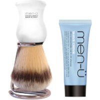 men- DB Premier Shave Brush with Chrome Stand - White