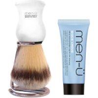men- DB Premier Shave Brush with Chrome Stand - White