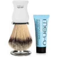 men-u DB Premier Shave Brush with Chrome Stand - White