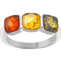 Silver Plated Amber Gem Stone Ring - T