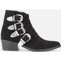 Toga-Pulla-Womens-Buckle-Side-Suede-Heeled-Ankle-Boots-Black-UK-5EU-38-Black