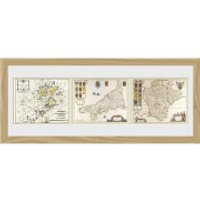 Maps Triptych - 30 x 12 Framed Photographic
