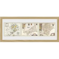 Maps Triptych - 30   x 12   Framed Photographic - Maps Gifts