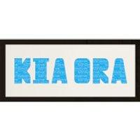 GB Cream Mount Kia Ora Photo Font - Framed Mount - 12 x 30