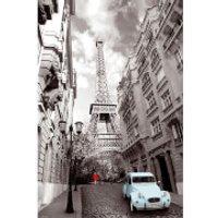 Paris Red Girl Blue Car - Maxi Poster - 61 x 91.5cm