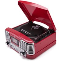 GPO Retro Memphis Turntable 4-in-1 Music System with Built in CD and FM Radio - Red - Music Gifts