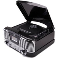 GPO Retro Memphis Turntable 4-in-1 Music System with Built in CD and FM Radio - Black - Music Gifts