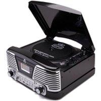 Tocadiscos GPO Retro Memphis Sistema de música 4 en 1 con CD y radio FM - Negro