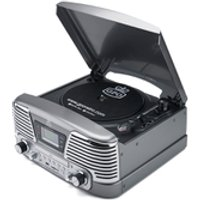 GPO Retro Memphis Turntable 4-in-1 Music System with Built in CD and FM Radio - Silver - Music Gifts