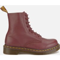 Dr. Martens Womens Core Pascal Virginia Leather 8-Eye Lace Up Boots - Cherry Red - UK 7 - Red