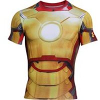 Under Armour Mens Iron Man 2 Compression Short Sleeved T-Shirt - Gold/Red/Silver - XXL - Gold/Red/Silver