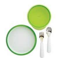 OXO Good Grips Tot 4 Piece Feeding Set - Green (Fork, Spoon, Plate, Large Bowl)