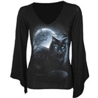 Spiral Womens MYSTICAL MOONLIGHT V Neck Goth Sleeve Top - Black - XL - Black