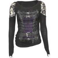 Spiral Womens WAISTED CORSET Shoulder Lace Top - Black - XL