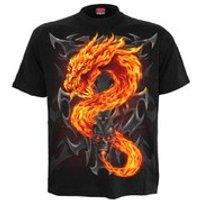 Spiral Men's FIRE DRAGON T-Shirt - Black - L - Schwarz